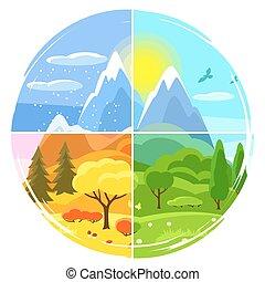 景色。, 冬, 木, 丘, 春, 山, autumn., 4, イラスト, 季節, 夏