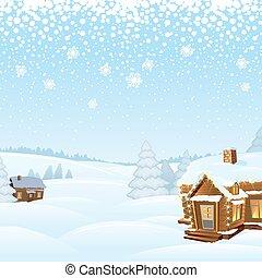 景色。, 冬, 雪が多い, イラスト, ベクトル, 日