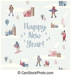 景色。, 冬, seamless, イラスト, 年, 新しい, ほんの少し, クリスマス, 幸せ