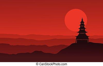 景色, 塔, シルエット, 月