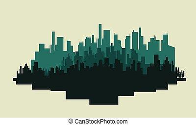 景色, 大きい, シルエット, 都市