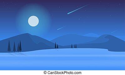 景色。, 屋外, nature., 現場, 夕方, 夜, 光景