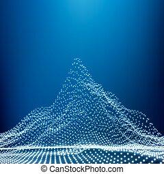 景色。, 山が多い, 背景, 点を打たれた, 山, 抽象的, wireframe, 3d, poly, 白熱, サイバースペース, 低い, vector., 幾何学的, grid., 技術, terrain., design.