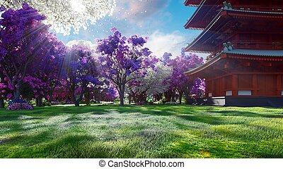 景色。, 山, フィールド, 旅行, flowers., 日本語, 驚かせること, レンダリング, 冒険, sakura, 背景, 春, 寺院, 花, 3d