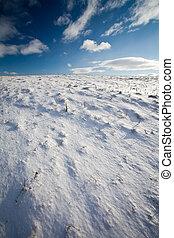 景色, 山, 雪が多い, 青い空, 海原