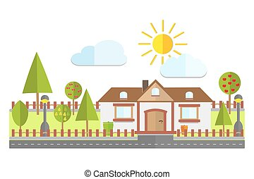 景色, 平ら, カラフルである, 家, 木, フルーツ, ベクトル, イラスト, 背景, 住宅の, 国