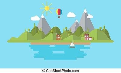 景色, 平ら, 丘, 家, 現代, イラスト, 海岸, ベクトル, 風景, 背景, 休日, ボート