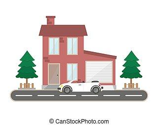 景色, 平ら, 住宅の, 建物, 家, 木, イラスト, ガレージ, ベクトル, レトロ, 背景, 国, れんが, スポーツ, 自動車