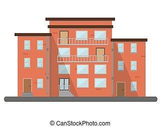 景色, 平ら, 建物, 大都市である, 都市, 家, イラスト, ベクトル, レトロ, 背景, 住宅の, れんが