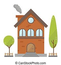景色, 平ら, 建物, 家, 木, イラスト, ベクトル, レトロ, 背景, 住宅の, れんが, 国