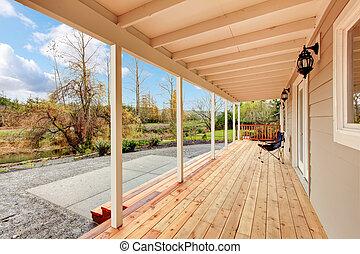 景色。, 庭, デッキ, 木製である, 背中, 秋, カバーされた