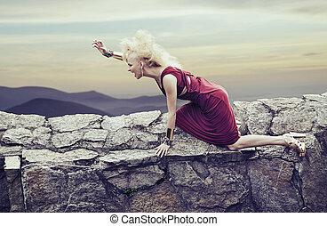 景色, 怒る, 女性, 若い, 自然