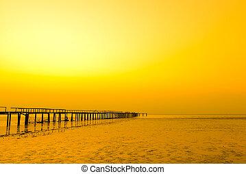 景色, 日没, 突堤