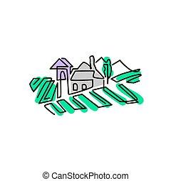 景色。, 有色人種, drawing., 隔離された, 1(人・つ), ブドウ園, ベクトル, icon., 背景, 白いライン