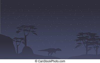 景色, 木, シルエット, mapusaurus