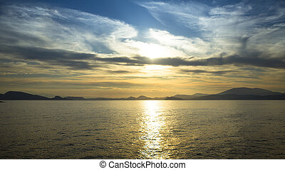景色。, 海洋, 現場, 日没, 海, scape, 浜
