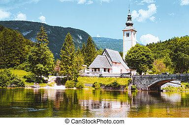 景色, 湖, 教会, bohinj, バプテスト, スロベニア, ジョン, st.