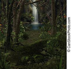 景色, 滝, ジャングル, 魅惑的である