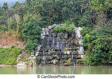 景色。, 滝, 自然, 飾り付けなさい
