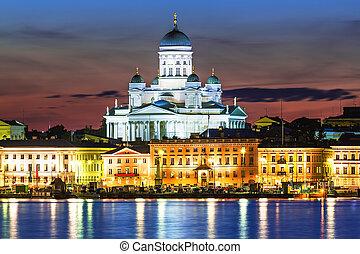 景色, 町, 古い, ヘルシンキ, フィンランド, 夜