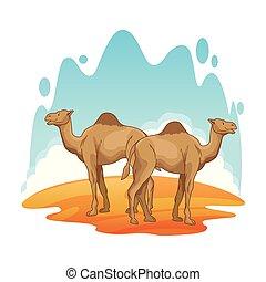 景色, 砂漠, ラクダ, 2, 漫画