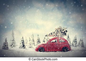景色, 自動車, ごく小さい, クリスマス, forest., fairytale, retro のおもちゃ, 木。, 雪, 届く