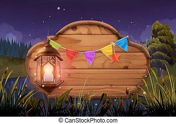 景色。, 自然, 木製である, lamp., 印, ベクトル, 背景, 夜, パーティー。