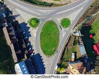 景色。, 航空写真, 田園, 交差点, 道, 光景