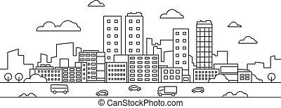 景色。, 都市の景観, ダウンタウンに, バックグラウンド。, 通り, 都市, 線である, ベクトル, 自動車, 公園, 現代, 超高層ビル, 都市, 線, 建物
