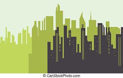 景色, 都市, シルエット, 大きい