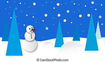 景色, 雪だるま, 冬