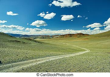 景色, 雪をかぶった, altai., mongolian, 背景, 谷, 山。
