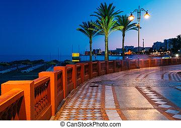 景色, benalmadena, 海岸, 堤防, 夜浜, 光景