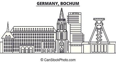 景色。, bochum, 都市の景観, ランドマーク, illustration., ベクトル, 光景, 有名, 線, ...