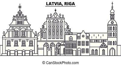 景色。, illustration., 都市の景観, ランドマーク, 光景, ベクトル, ラトビア, 有名, riga, 線, スカイライン, 都市, 線である