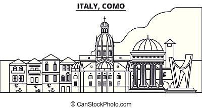 景色。, illustration., 都市の景観, ランドマーク, 光景, ベクトル, 有名, como, 線, ...
