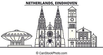 景色。, illustration., 都市の景観, ランドマーク, 光景, ベクトル, 有名, netherlands, 線, スカイライン, eindhoven, 都市, 線である