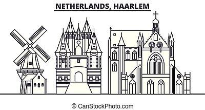 景色。, illustration., 都市, ランドマーク, 有名, スカイライン, ベクトル, 光景, 都市の景観, 線, haarlem, netherlands, 線である