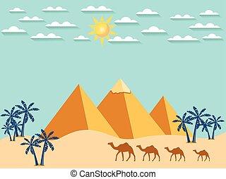 景色。, vector., egypt., ラクダ, 背景, pyramids.