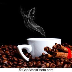 暑い, シナモンロール, カップ, コーヒー