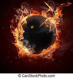 暑い, ボール, 炎, スカッシュ, 火