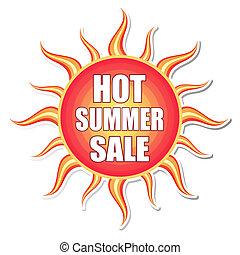 暑い, 夏, セール, 中に, 太陽, ラベル