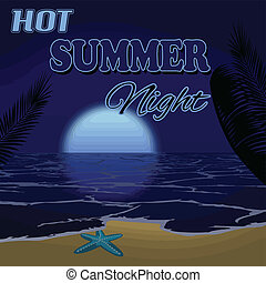 暑い, 夜, 夏, ポスター