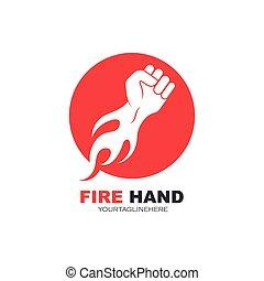 暑い, 手, ベクトル, 強い, イラスト, 火