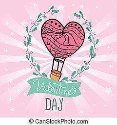 暑い, 日, balloon, バレンタイン, カード, 空気