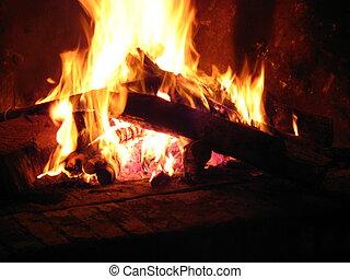 暑い, 暖炉, 燃焼