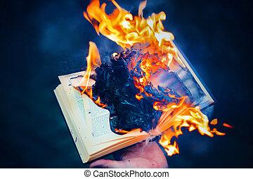 暑い, 本, 炎, 古代, 燃焼, darkness., 手, 人, 明るい, censorship., ritual.