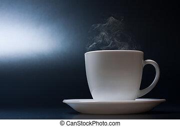 暑い, 蒸気, 白, 液体, カップ