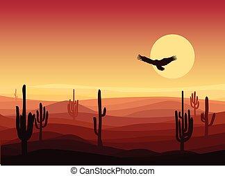 暑い, 風景, 砂, 背景, 砂漠