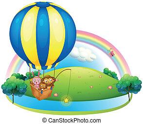 暑い, balloon, 動物, 3, 空気